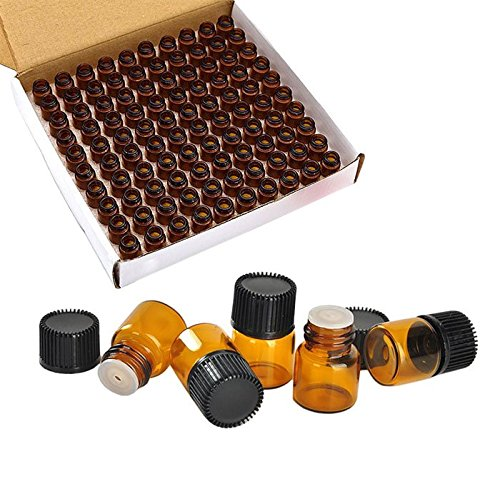 100 Packs Essential Oil Bottles, 1ml(1/4 dram) Mini Sample bottle Amber Glass Vials, With With 3 Free Dropper Wilotick