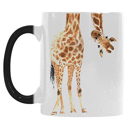 InterestPrint Watercolor Giraffe Animal Print Morphing Mug Heat Sensitive Color Changing Coffee Mug Cup , Funny African Wildlife Safari Coffee Mug Christmas Birthday Gifts (Giraffe Mug Print)