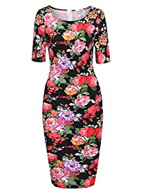 Meaneor Women Floral Print Bodycon Midi Dress Short Sleeve Slim Fit Pencil Dress