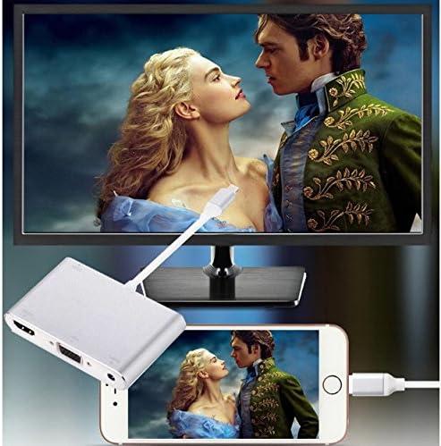 3 in 1 Digital AV Adapter Converter for All Devices Over IOS 5 Version Lightening to HDMI Adapter HDTV1080P VGA /& HDMI /& Audio Adapter