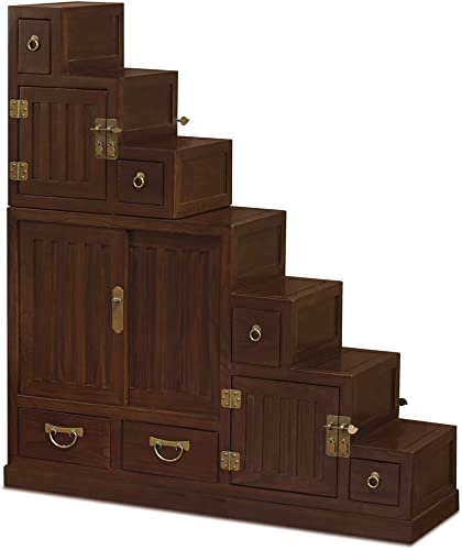 China Furniture Online Elmwood Tansu Chest, Hand Crafted Japanese Style Step Tansu Cabinet in Mahogany Finish