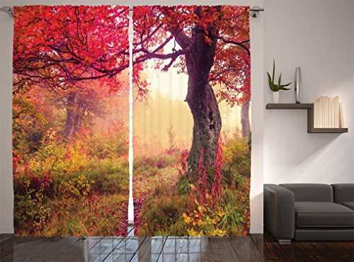 Ambesonne Farm House Decor Collection, Majestic Landscape with Colorful Autumn Trees Foggy Forest in Ukraine Photography, Living Room Bedroom Curtain 2 Panels Set, 108 X 90 Inches, Coral Pink Green