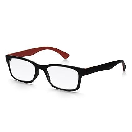 Read Optics Gafas de lectura ultra livianas de marco completo en negro mate y marrón: policarbonato fuerte y liviano con lentes de calidad óptica ...