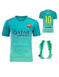 Barcelona Away Messi #10 Football Soccer Kids Jersey with Free Shorts & Socks