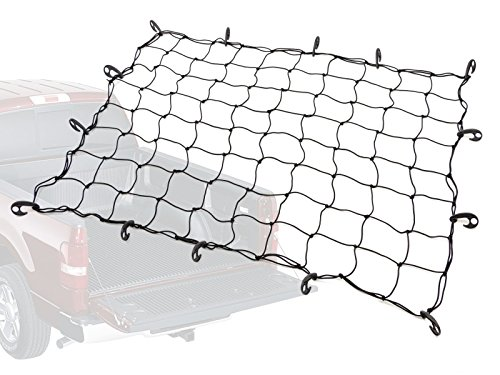 5ft x 7ft PowerTye® Mfg Truck & Trailer Large Elastic Cargo Net with 14 Adjustable Hooks | Stretches to 9ft x 14ft