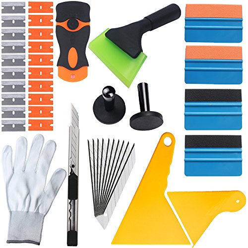 EEFUN 14 in 1 Installation Tool Kit for Car Window Wrapping Tint Vinyl with Many Size Squeegee, Razor Blade Scraper, Utility knife, Vinyl Magnet Holder , Silicone Rubber Squeegee, Working - Scraper Blade Holder