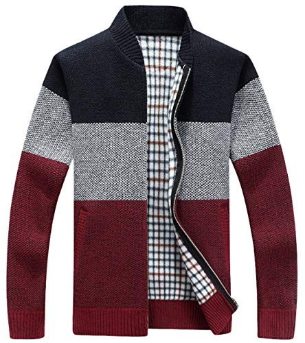 chouyatou Men's Classic Band Collar Full Zip Color-Block Stripe Cable Knitted Cardigan Sweater Coat (X-Large, Dark Red)