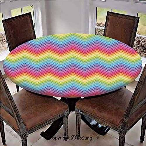 - Elastic Edged Polyester Fitted Table Cover,Colorful Zig Zag Chevron Pattern Geometric Modern Sharp Design Fancy Illustration,Fits up 56