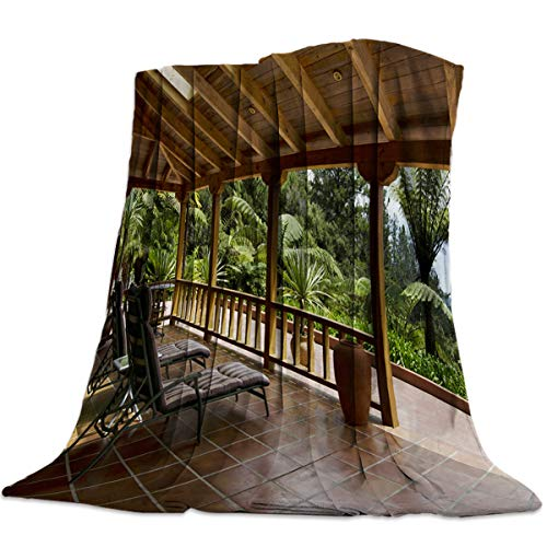 OUR WINGS Flannel Fleece Bed Blanket,Warm and Soft,Girls/Boys Blanket for Camping,Picnic,Beach,Tropical Beach Side Lounge Garden Terrace (50 x 80 - Terrace Tropical Garden