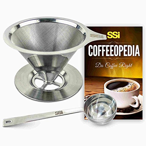 Pour Over Coffee Filter Dripper Kit with Bonus 2 Tablespoon Scoop - All High Quality Stainless Steel Cone Paperless and Reusable Hand Brewer Bundle - Coffover Coffee Drip (Cone Hand Vacuum compare prices)
