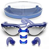 Zoma Swimming Goggles with Anti Fog Technology – 3 Piece Adjustable Nose Bridge for Perfect Comfortable Fit for Adults and Kids – Ergonomic Silicone Earplugs Included