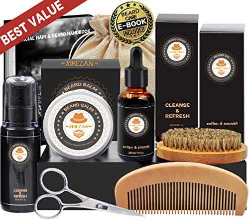 8 in 1 Free Beard Shampoo/ Wash Beard Care Growth Grooming Kit w/ Unscented Beard Oil+Beard Comb+Beard Balm+Beard Brush+Beard Scissors+Storage Bag+Gift Box