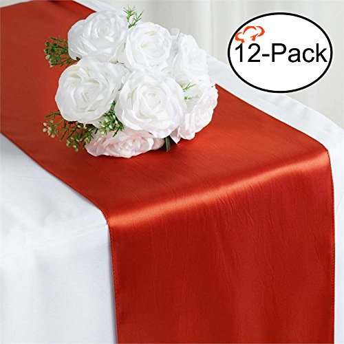 - Tiger Chef 12-Pack Burnt Orange 12 x 108 inches Long Satin Table Runner for Wedding, Table Runners fit Rectange and Round Table Decorations for Birthday Parties, Banquets, Graduations, Engagements