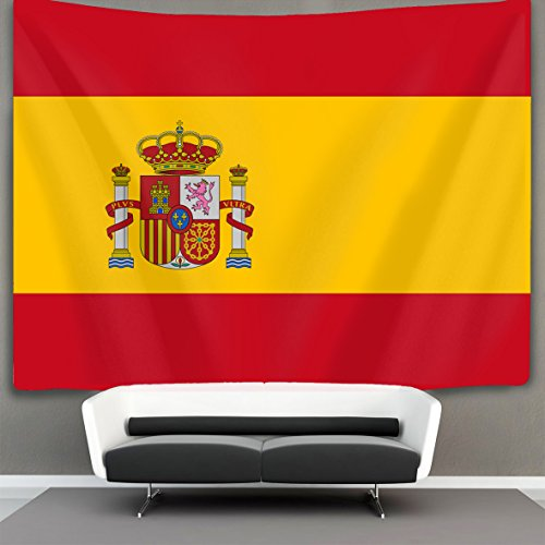 SWEET TANG Flag of Spain Wall Tapestry Hippie Art Tapestry Wall Hanging Home Decor Extra large tablecloths 60x80 inches For Bedroom Living Room Dorm Room by SWEET TANG