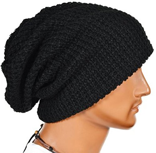 Slouchy Long Oversize Black Beanie Knit Cap Available in 34 Different Colors and Patterns by FORBUSITE