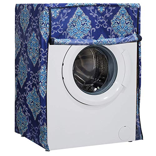 Heart Home Floral Design Cotton Front Load Fully Automatic Washing Machine Cover (Sky Blue)- CTHH06222