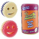 Scrub Daddy - Scrub Mommy - Two-Sided Soft Absorbent and Scratch-Free Scrubber and Sponge - 4 Count