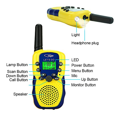 Walkie Talkies for Kids Boys Girls, Ouwen Long Range Walkie Talkies for Kids Popular Hottest Outdoor Toys for 3-12 Year Old Boys Girls Presents Gifts for 3-12 Year Old Boys Girls Yellow Blue OWUSDD09 by Ouwen (Image #3)