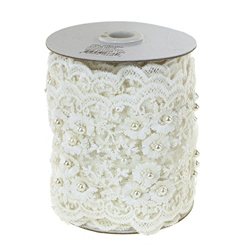 Homeford FCR00000FL001WHT Floral Lace Trim with Scattered Pearls Ribbon, 4