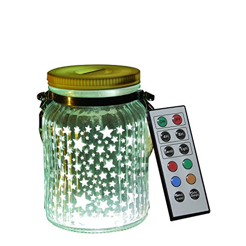 iZAN 1 Pack Mason Jar LED Light Indoor Outdoor Glass Jar Light Battery Operated Lantern with Remote for Home Garden Party Decorations Christmas Festival Décor Light, Stars -