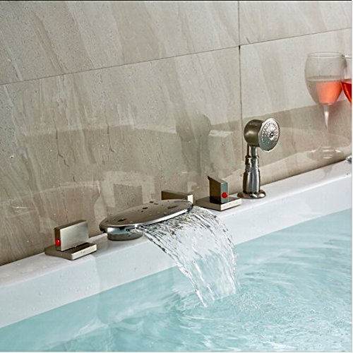 GOWE LED Color Changing Waterfall Bathroom Tub Faucet Brushed Nickel Sink Mixer Tap 3