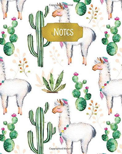 Notes: Notebook with Quote, 160 Page Softcover Yoga Journal, College Ruled Composition Notebook, 8 x10 Blank Lined Diary Watercolor Cactus Floral Design Cover