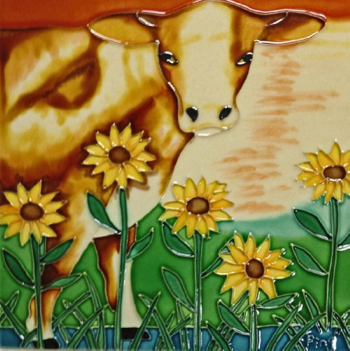 Cow Tile - Continental Art Center BD-0070 8 by 8-Inch Brown Cow with Sunflowers Ceramic Art Tile
