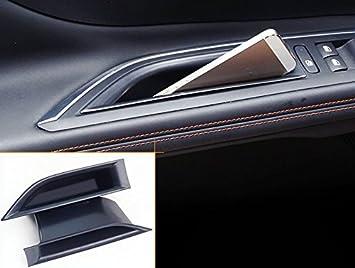 High Flying For 3008 5008 2017 2018 Interior Door Box 2 Pieces Plastic Black Auto