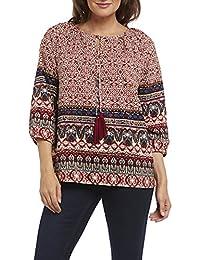 Kaktus Women's 3/4 Sleeve Peasant Style Tunic Top - Plus Size Available