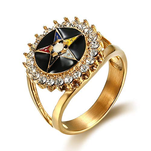 Nattaphol 316L Stainless Steel Gold OES Masonic Women Rings with Clear Crystal Color Enamel Order of Eastern Star Freemason Rings (7)