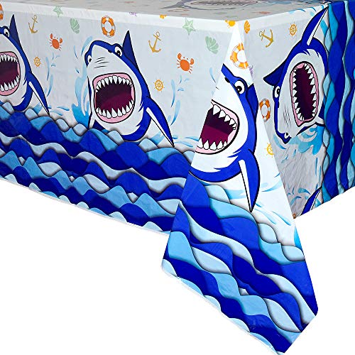 WERNNSAI Shark Party Tablecloth - 1 PCS 71'' x 43.3'' Rectangular Disposable Plastic Table Cover Shark Splash Decorations for Boys Kids Birthday Baby Shower Pool Blue Ocean Shark Theme Party Supplies -