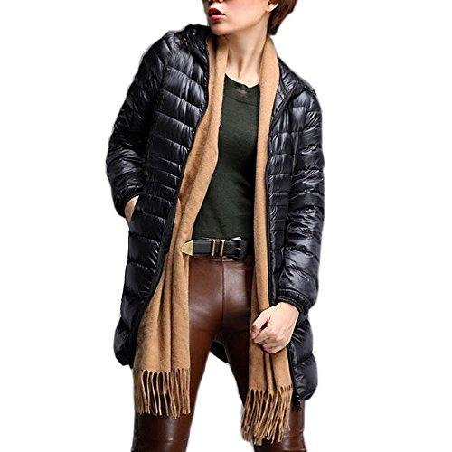 sans Manteau Capuche des Fourrure Manteau Noir Plus Taille Doudoune Mode Manche Femme Doudoune d'hiver Mince la Femmes Outwear Chaude ALIKEEY Manteau de Femme 5qWAxgAS
