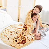 CASOFU Burritos Blanket, Giant Flour Tortilla Throw Blanket, Novelty Tortilla Blanket for Your Family, Soft and Comfortable Flannel Taco Blanket for