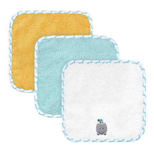 Love Hippos (Just Born Just Bath Love to Bathe 4-Pack Woven Washcloth Set, Hippo)