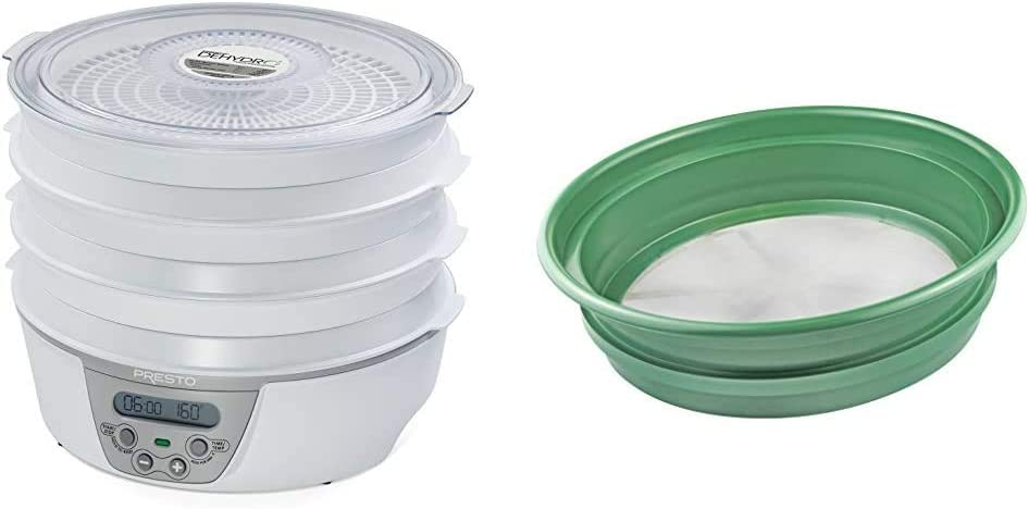 "Presto 06301 Dehydro Digital Electric Food Dehydrator & SE Patented Stackable 13-¼"" Sifting Pan, Mesh Size 1/100"" - GP2-1100"