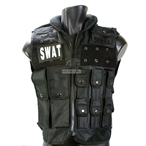 MetalTac Airsoft Tactical Vest Modular Style SWAT Vest [VS01] - Comes with Multiple Pockets & removealbe pouches, Neck Cushion for Paintball & Airsoft Gear in Black with MetalTac Warranty + Tech Support