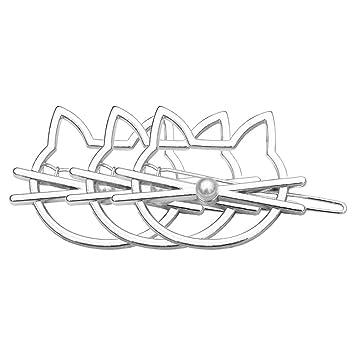 5e33ae29ca515 Lumanuby 3 pcs Pinza de pelo de dama Hueco geométrico Pasador Metal con  forma de gato