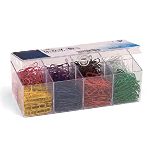 Officemate PVC-Free Color Coated Paper Clips, #2, 800 per Reusable Plastic Organizer with 8 Compartments (97228)