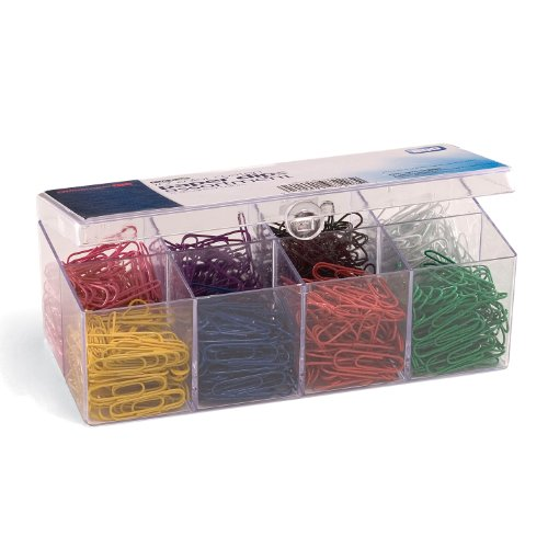 Officemate PVC-Free Color Coated Paper Clips, #2, 800 per Reusable Plastic Organizer (2 Vinyl Paper Clip)