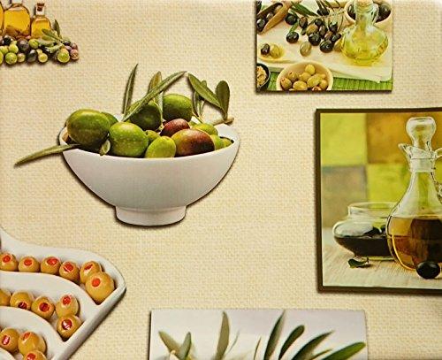 Wachstischdecke Tischdecke Creme Fotomotiv Karaffen, Olivenschale Olivenöl 100x140 cm nach Öko Tex® Standard 100 ...