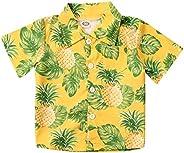 2021 Baby Boys Hawaiian Shirts Cute Cartoon Button Down Print Short Sleeve Holiday Shirts Beach Shirt Tops Str
