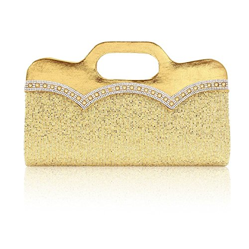 Handle Gold Paillette Clutch Beaded Damara Women Glitter Top Evening wx7nOn4aq6