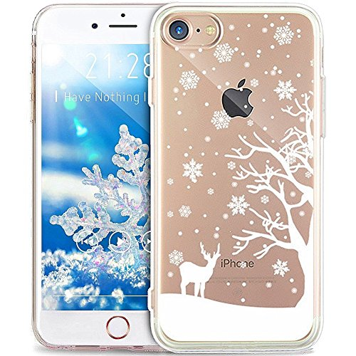 Price comparison product image UCLL Iphone 7 Case, Iphone 7 Liquid Case, Christmas Tree Snowflake Design for Iphone 7 ,Glitter Bling Clear Case 4.7 Inch iphone 7 with a Screen Protector Gold Rose (D)