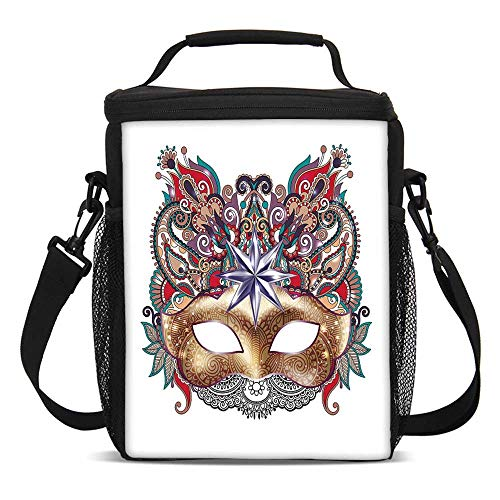 Mardi Gras Fashionable Lunch Bag,Venetian Carnival Mask Silhouette with Ornamental Elements Masquerade Costume Decorative for Travel Picnic,One size