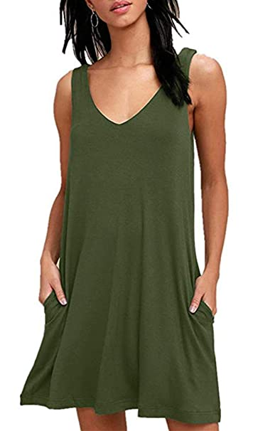 cafe2b039816e FELACIA Women s Summer Casual Sleeveless Floral Printed Swing Dress  Sundress with Pockets Army Green