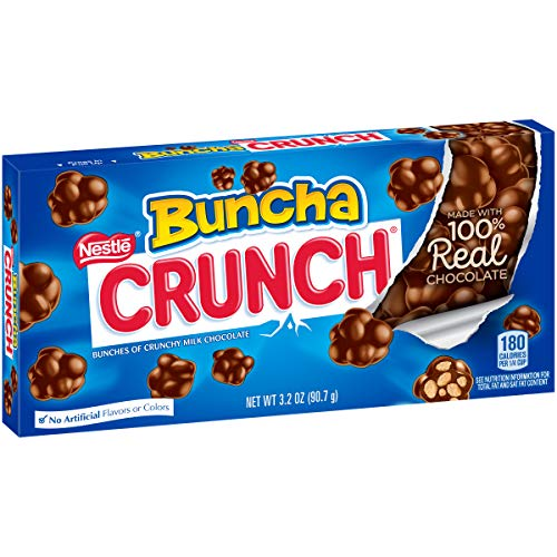 Crunch Candy Pieces Made of Milk Chocolate with Crisped Rice Mixed In, 3.2 Oz Video Box, 12 Count