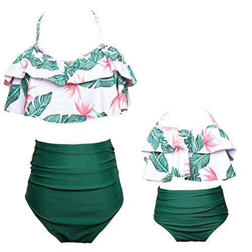 Qunlei Mommy and Me Swimsuits Two Pieces Retro Boho Flounce Falbala High Waisted Beach Bikini Set for Girls/Baby Girls/Teen Girls Green 2-3 Years