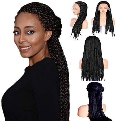 24 Inch Long Box Braid Lace Front Wig Braids Micro Million African Braided Wigs for Women and Girls