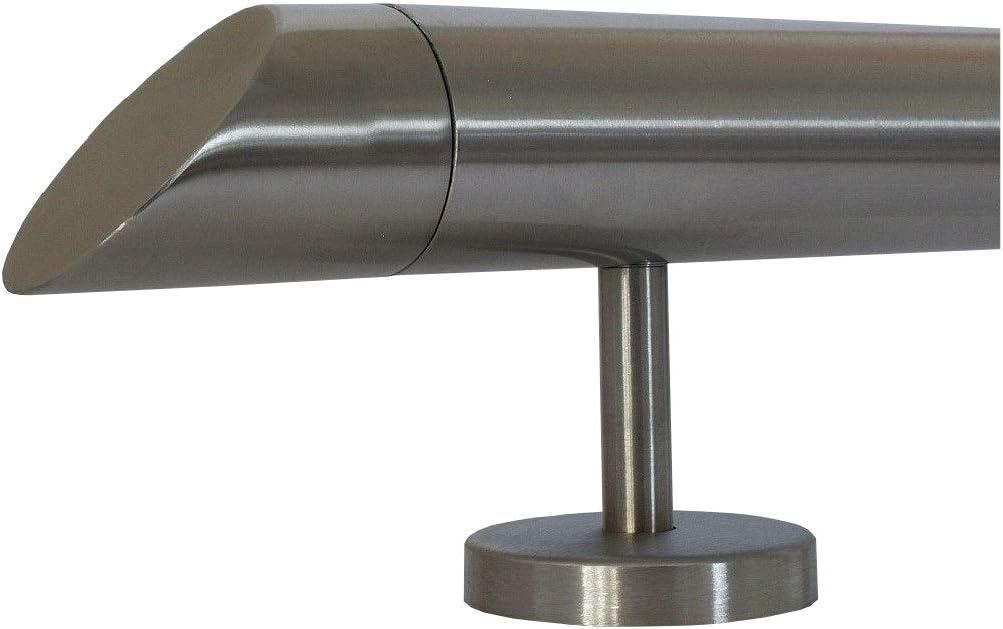 Enden mit halbrunde Kappe 6m aus einem St/ück und unterschiedlichen Endst/ücken zum Ausw/ählen /Ø 42,4 mm mit gerade Halter Edelstahlhandlauf L/änge 0,3m zum Beispiel: L/änge 70 cm mit 2 Halter