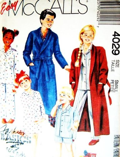 (McCALL'S SEWING PATTERN 4029 ~ Children's Robe, Nightshirt, Pajamas (Size Small 6-7) EASY TO SEW)